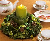 Wreath of Nordmann fir, false cypress, cones, tree ornaments