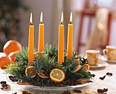 Advent wreath with dried orange slices