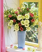 Vase of Lisianthus and bear grass