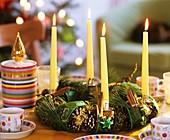 Advent wreath of pine cones