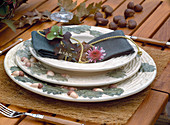 Acorn-patterned crockery with napkin decoration for autumn