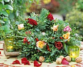 Wreath of box, Thuja and pine with roses