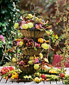Tiered stand with autumn decoration