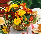 Arrangement of marigolds, Tagetes and dahlias