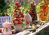 Table decoration with apple pyramids