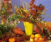 Autumnal decoration with firethorn and ornamental gourds