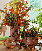 Autumn arrangement of sea buckthorn and Chinese lanterns