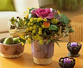 Arrangement of ornamental cabbage, dill & ornamental quinces