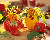 Dahlias and rose hips in red and yellow pepper vases