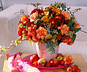 Autumn arrangement of carnations and chyranthemums