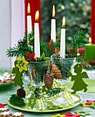 Unusual Advent wreath with candles in wine glasses