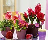 Still life with Ranunculus, primulas, hyacinths & Easter egg
