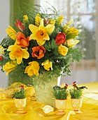 Arrangement of tulips and daffodils