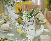 Table decorated for Easter with Star of Bethlehem
