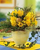Easter arrangement of daffodils