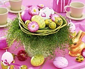 Easter nest of daisies, ornamental asparagus & Easter eggs