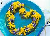 Heart of Narcissi, grape hyacinths and Mimosa