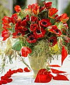 Vase of tulips and poppy anemones, with hearts
