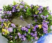 Heart-shaped wreath of forget-me-nots, ivy and box