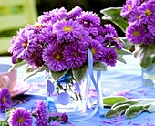 Purple asters and lamb's ears leaves in spotted vase