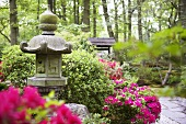 Japanese garden with stone lantern