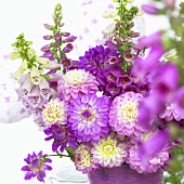 Arrangement of dahlias and other summer flowers in pink