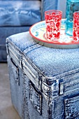 Upholstered furniture covered in jeans fabric