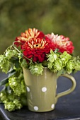 Pompom dahlias and hops in ceramic mug