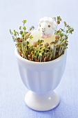 Easter lamb on cress in an egg cup