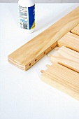Making a wooden folding table (constructing tabletop with wooden dowels)