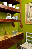 Wooden shelving in a kitchen