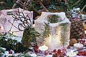 Winter decorations: ice lanterns
