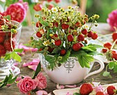 Bunch of wild strawberries in a small jug
