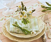 Green asparagus and apple blossom (plate decoration)