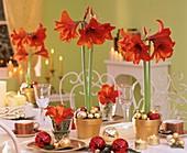 Amaryllis and baubles on festive Christmas table