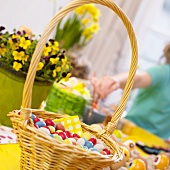 Basket of coloured sugar eggs