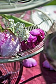 Peonies on tiered stand (table decoration)