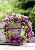 Wreath of clover and elderflowers
