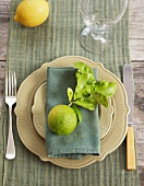 Place-setting with lime