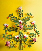 Decorative metal tree with birds and apples