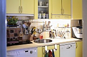 Modern kitchen with yellow fitted cupboards, washing machine and dishwasher
