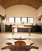 Kitchen with cowhide rug