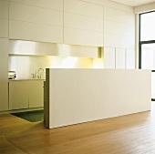 Puristische Designer-Küche mit Einbaufront und Theke hinter halbhoher Wand