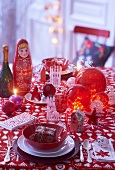 Russian Christmas decorations on a table
