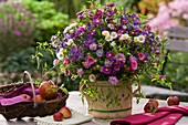 Arrangement of asters on garden table (autumn)