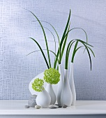 Grass and hydrangeas in vases
