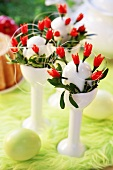 Eggs studded with chillies (Easter decoration)