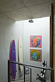 Staircase with surfboards (Villa Nalu, Southern France)