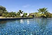 Swimming pool at Villa Nalu, architect-designed house, Southern France