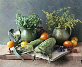 Vegetable and herb still life